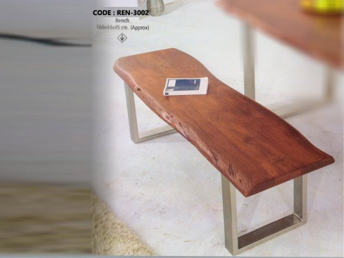 Live Edge Bench Made of Acacia Wood and Metal