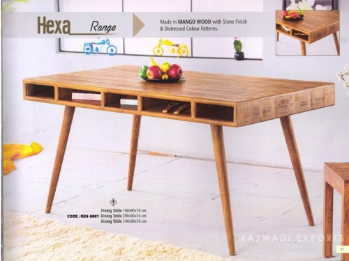 Dining Table Made of Mango Wood In Distressed Color Patterns