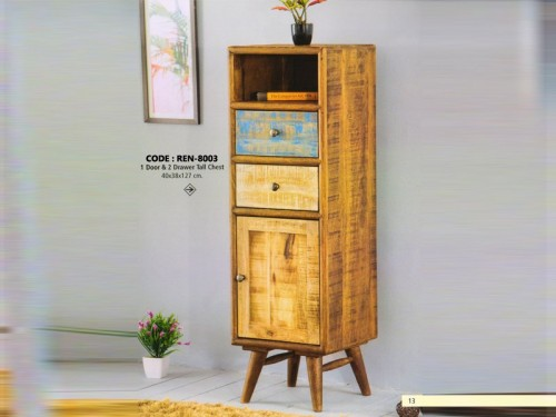 1 Door and 2 Drawer Tall Chest Made of Mango Wood In Distressed Color Patterns