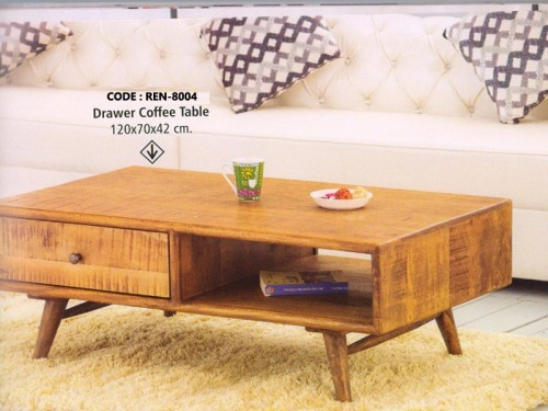 1 Drawer Coffee Table Made of Mango Wood In Distressed Color Patterns